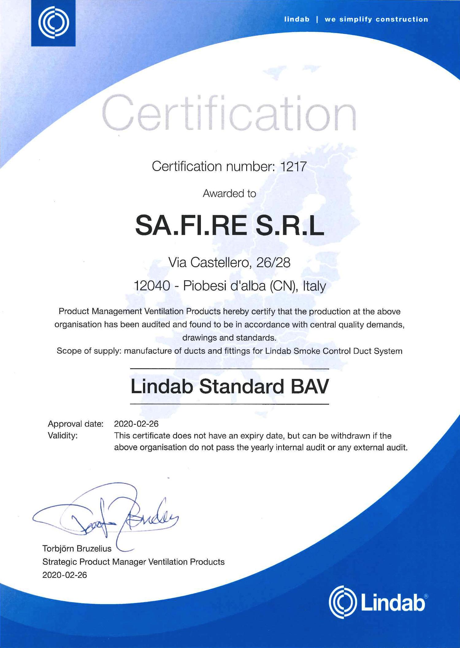 Certificazione LINDAB